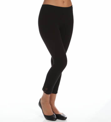 Hue Crochet Trim Cotton Legging
