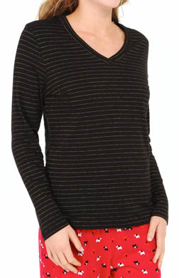 Hue Lurex Stripe Long Sleeve V-Neck