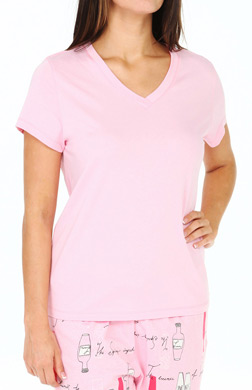 Hue Solid Short Sleeve V Neck Sleep Tee