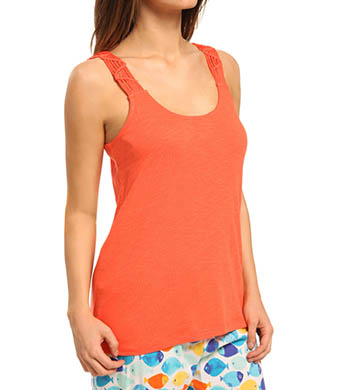 Hue Solid Sleep Tank With Macrame Straps
