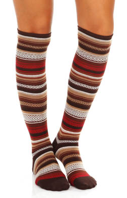 Hue Herringbone Stripe Knee Sock
