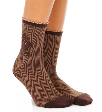 Hue Flocked Brocade Sock