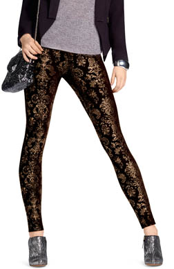 Hue Foil Brocade Ponte Leggings
