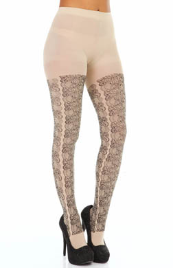 Hue Printed Lace Tights w/ Control Top