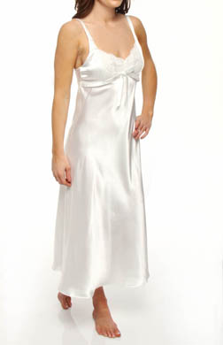 Jones New York Solid Satin Lace Trim Long Gown