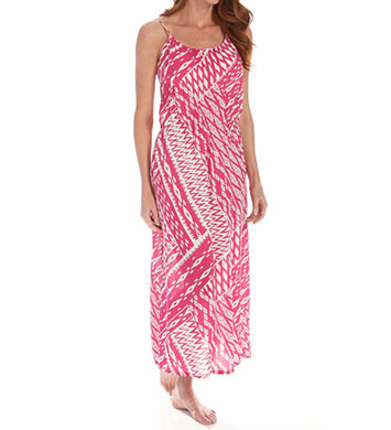 Josie by Natori Sleepwear Ikat Printed Challis Maxi Dress