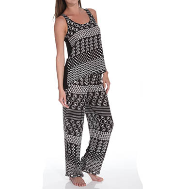Josie by Natori Sleepwear Total Eclipse Printed Challis Tank Pajama Set