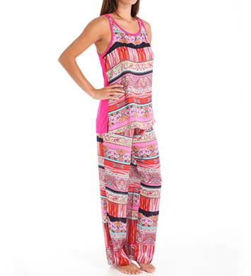 Josie by Natori Sleepwear Katina Printed Satin Tank Pajama Set