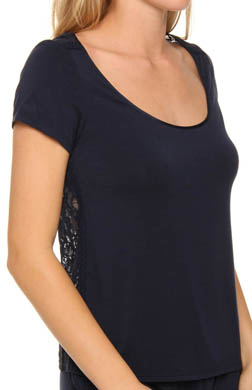 Juicy Couture Modal With Lace Short Sleeve Tee