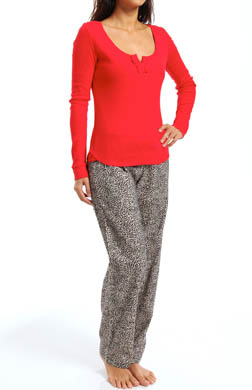 Juicy Couture Fireside Flannel PJ Henley Set