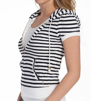 Juicy Couture Striped Short Sleeve Terry Jacket