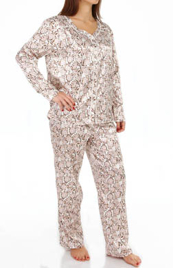 KayAnna Leopard Floral Satin Brushed Back PJ Set
