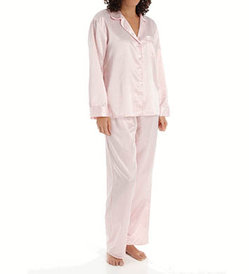 KayAnna Stripes Brushed Back Satin PJ Set