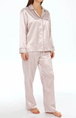 KayAnna Dots 'n Stripes Satin Brushed Back PJ Set