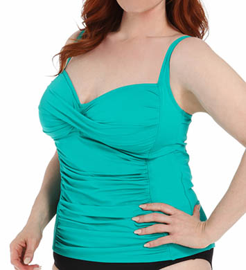 La Blanca Core Solid Plus Size Sweetheart Tankini Swim Top