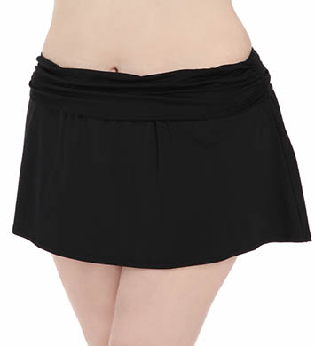 La Blanca Core Solid Plus Size Shirred Skirted Swim Bottom