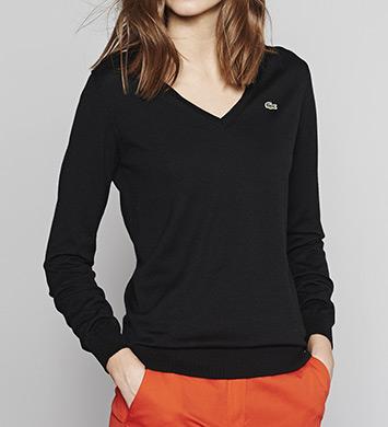 Lacoste Long Sleeve Extra Fine Cotton V-Neck