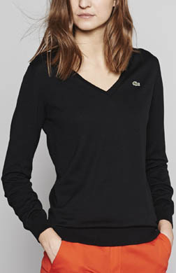 Lacoste Long Sleeve Extra Fine Cotton V-Neck