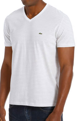 Lacoste Short Sleeve Heritage Stripe V-Neck Jersey T-Shirt