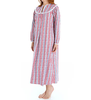 Lanz of Salzburg Classic V-Neck Long Flannel Gown