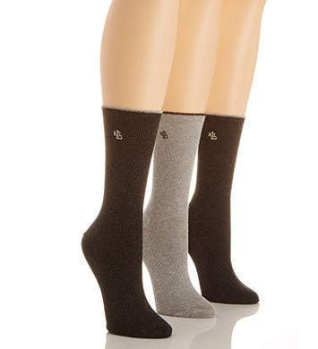 Lauren Ralph Lauren Tipped Rib Cotton Trouser Sock - 3 Pair Pack