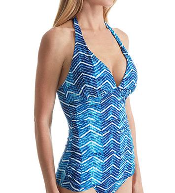 Lauren Ralph Lauren Herringbone Halterkini with Slimming Fit Swim Top