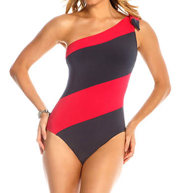 MagicSuit One Shoulder Jane Striped One Piece Swimsuit