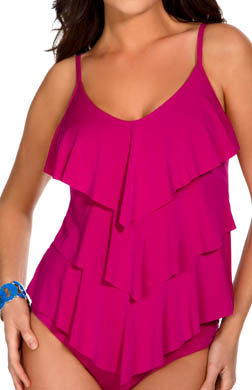 MagicSuit Solid Jersey Rita All Over Tiered Tankini Swim Top