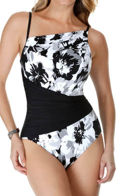 MagicSuit Dark Shadows Pleated Waist One Piece Swimsuit