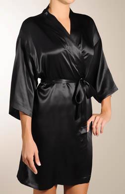 Mary Green Solid Silk Kimono Robe