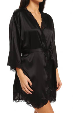 Mary Green Stretch Silk Satin Doll Kimono Robe with Lace
