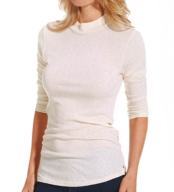 Michael Stars 1x1 Slub 3/4 Sleeve Mock Neck Tee