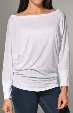Michael Stars 3/4 Sleeve Wide Neck Dolman Top
