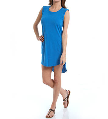 Michael Stars Slub Jersey/Voile Mix Sleeveless High Low Dress