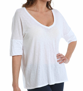 Michael Stars Luxe Slub Elbow Roll Sleeve V-Neck Top