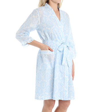 Miss Elaine Cotton Lawn Short Wrap Robe
