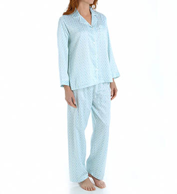 Miss Elaine Brushed Back Satin Long Sleeve PJ Set