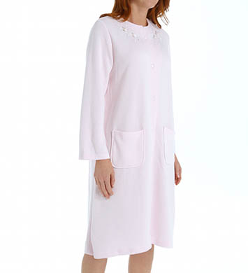 Miss Elaine Quilt-In-Knit Short Snap Front Robe