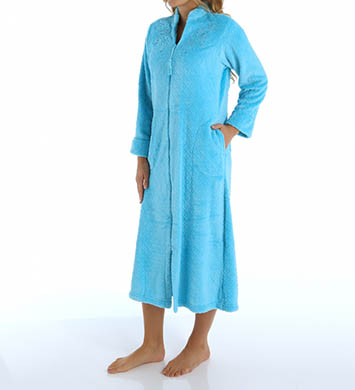 Miss Elaine Cuddle Fleece Long Sleeve Zip Front Robe