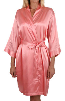 Mystique Intimates Hydrangea Solid Short Kimono Robe