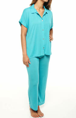 N by Natori Sleepwear Taki Solid Jersey Button Front PJ Set