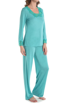 N by Natori Sleepwear Congo with Lace Longsleeve Pajama Set