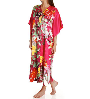 N by Natori Sleepwear Watercolor Flower Long Zip Caftan