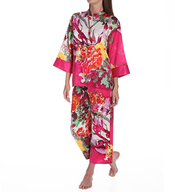 N by Natori Sleepwear Watercolor Flower Mandarin Collar Pajama Set