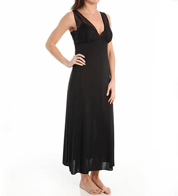 Natori Boudoir Solid Slinky Knit With Lace Long Gown