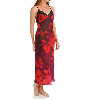 Natori Sophia Printed Gown with Lace