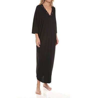 Natori Sleepwear Zen Floral Lace Trim Long Caftan