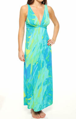 Natori Sleepwear Lagoon Printed Slinky Knit Long Gown