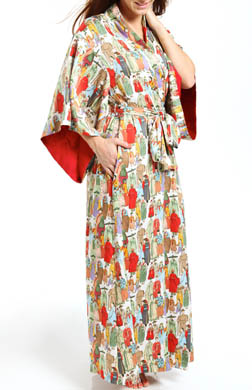 Natori Sleepwear Dynasty Printed Micro Satin Long Robe