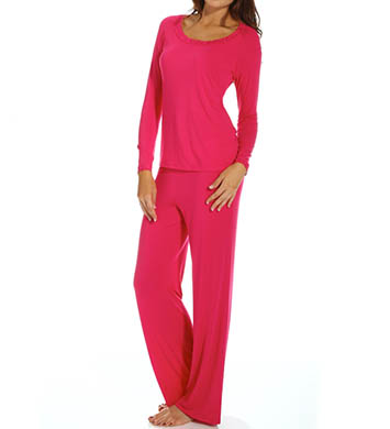 Natori Sleepwear Feathers Long Sleeve Jersey with Lace Pajama Set